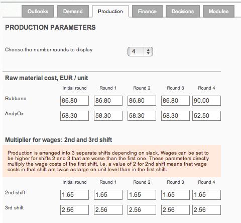 Edit business simulations case parameters
