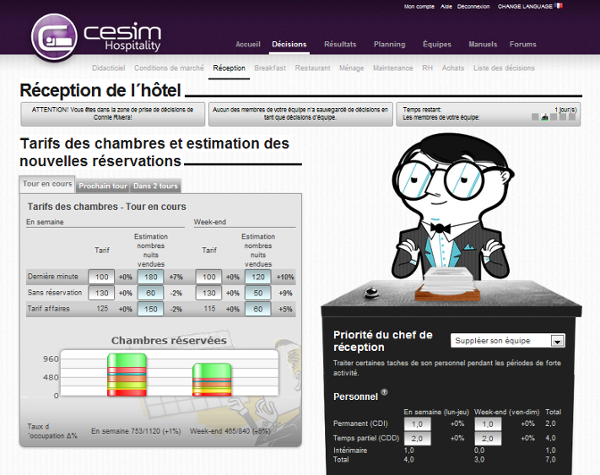 Cesim Hospitality réception de l'hôtel