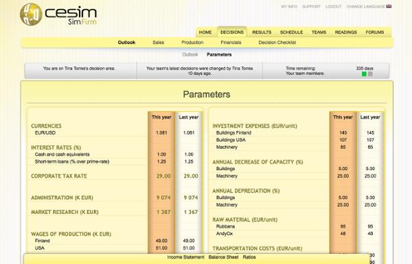 Cesim SimFirm General Business Management Simulation Game