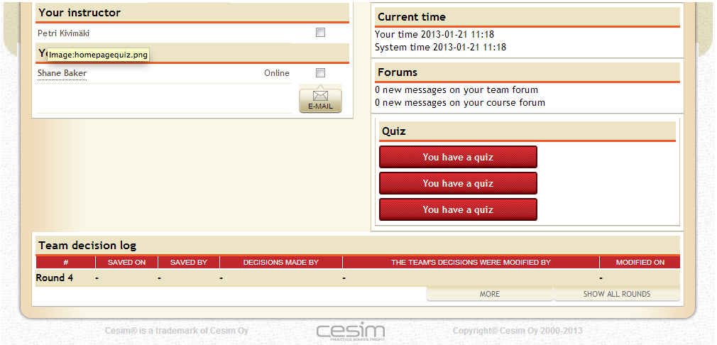 Cesim Business Simulations - Student Interface with Quiz