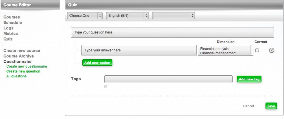 Cesim Business Simulations Questionnaire Create a New Question