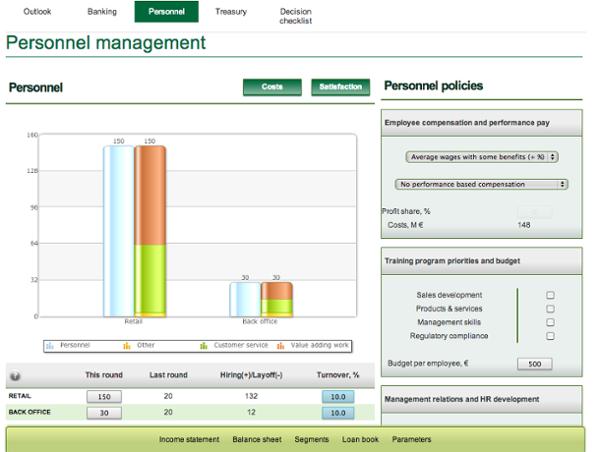Cesim Bank management simulation game - Personnel Management