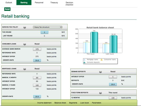 Cesim Bank management simulation game - Retail Banking