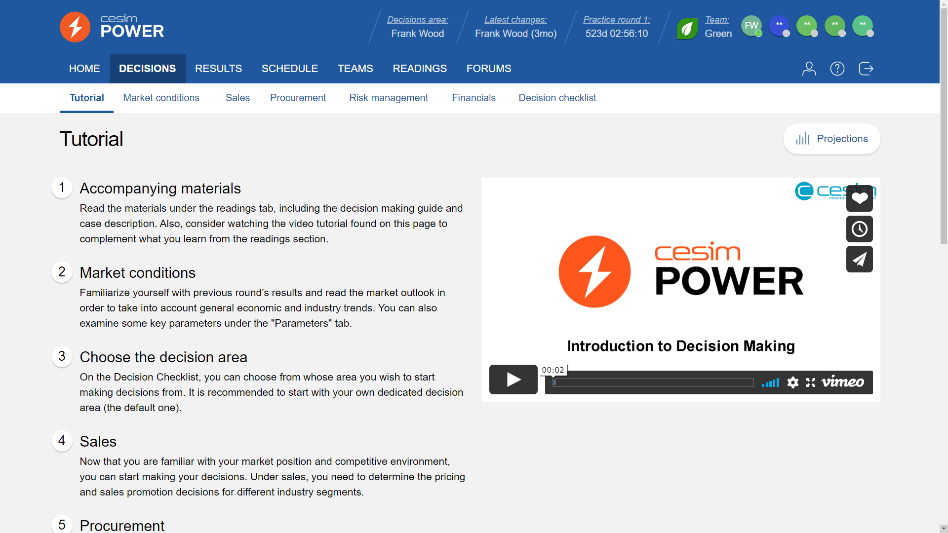 Cesim Power Tutorial screenshot