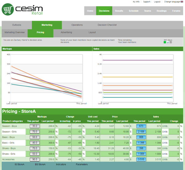 Cesim Retail Pricing