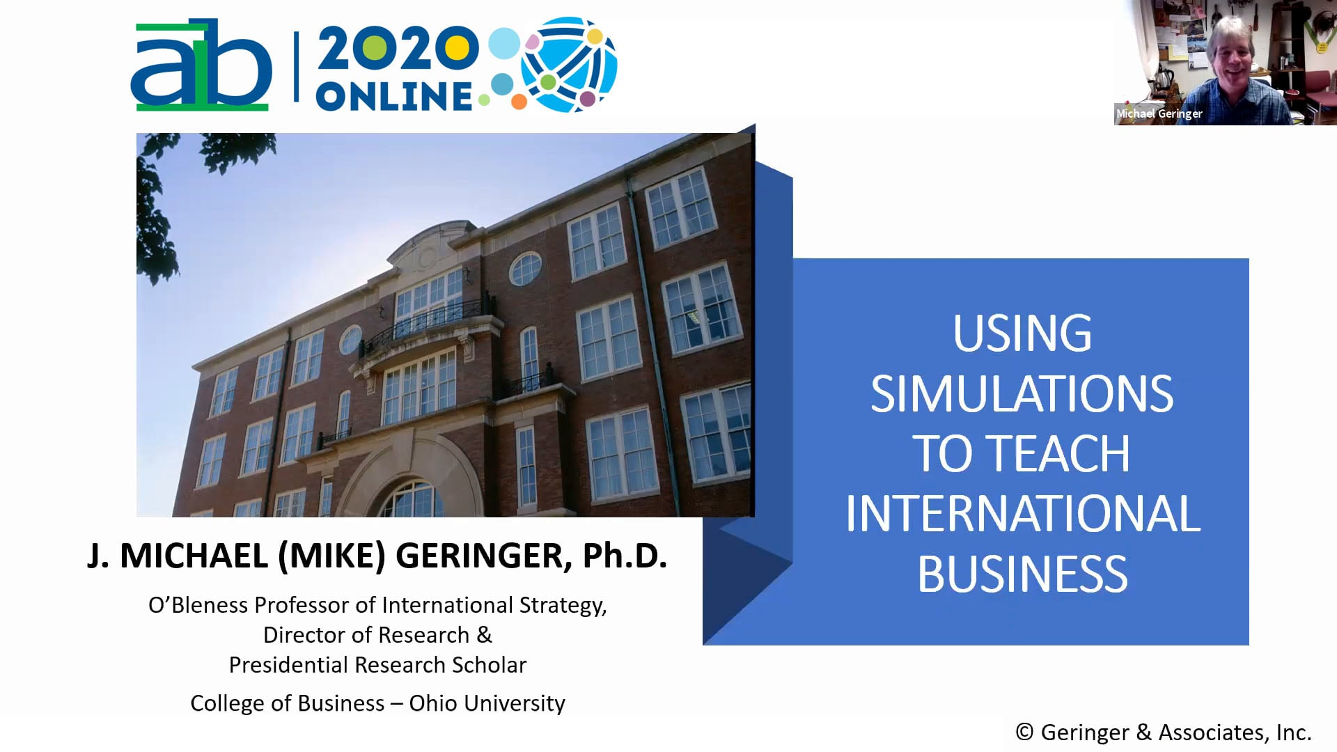 Mike Geringer AIB 2020 Showcase Session